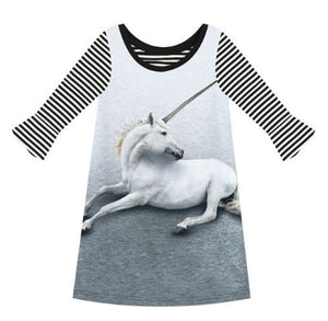 Girls Striped Unicorn Dress/Tunic