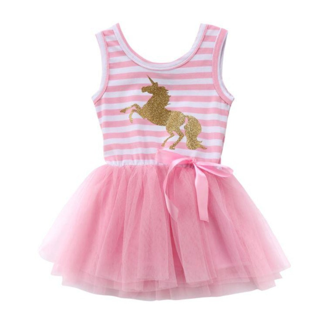 Girls Pink Unicorn Striped Party Dress