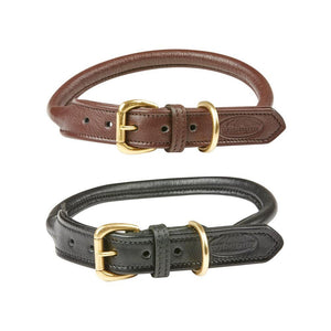 Weatherbeeta Rolled Leather Dog Collar Brown and Black