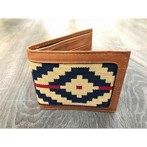 Gaucho Polo Wallet - Tan Leather Blue Pampa