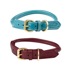 Weatherbeeta Rolled Leather Dog Collar Teal and Maroon