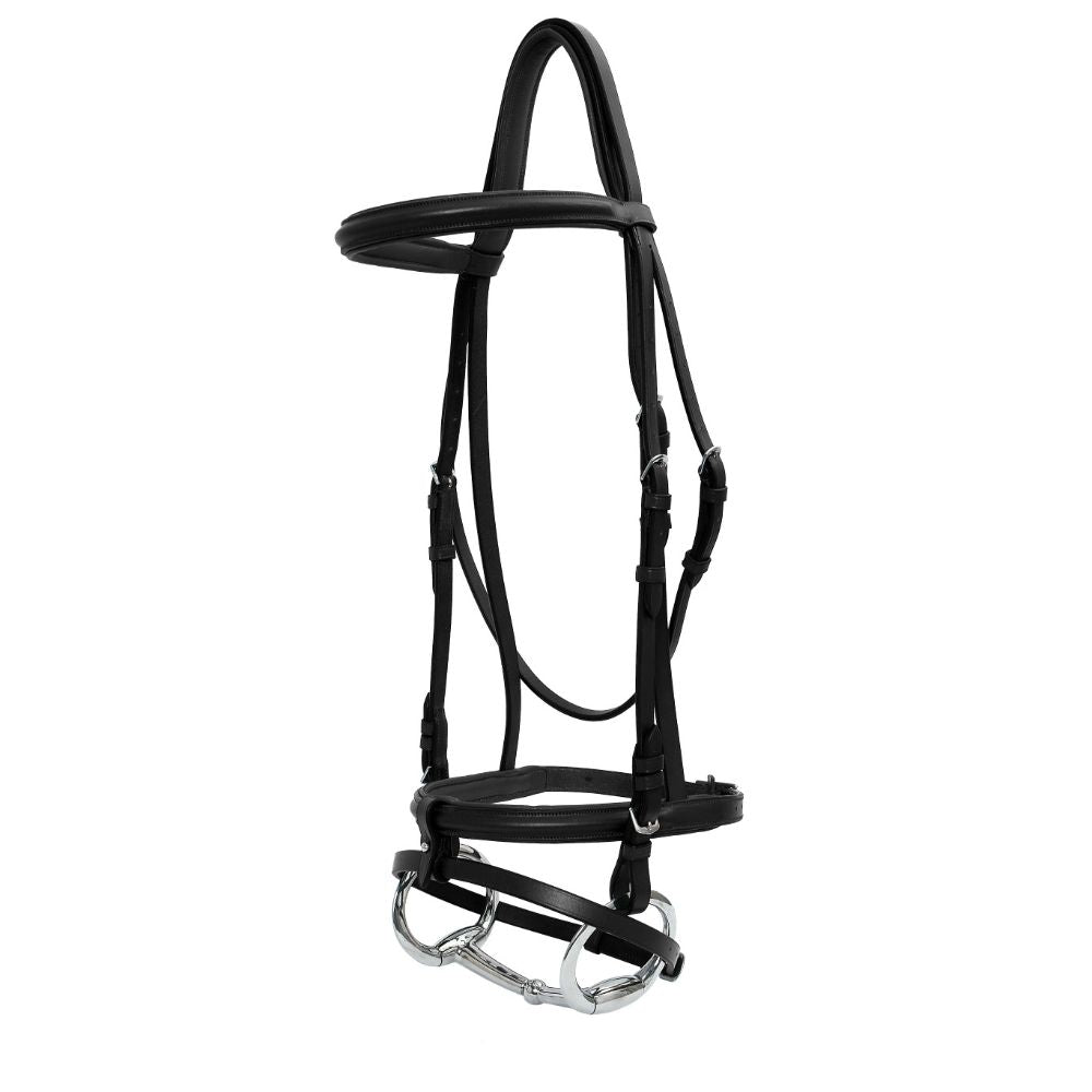 Platinum Raised Padded Hanoverian Bridle Black