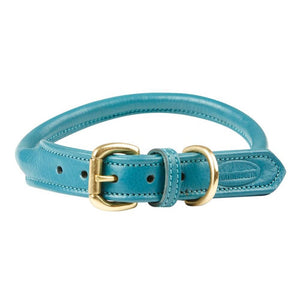 Weatherbeeta Rolled Leather Teal Dog Collar