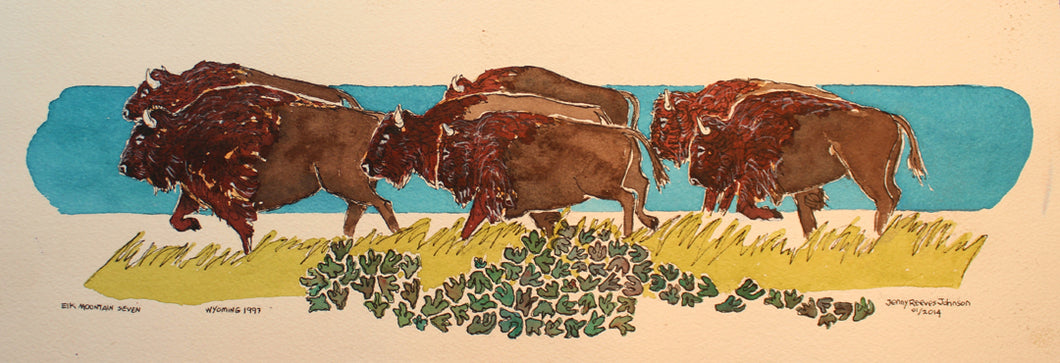 Elk Mountain Seven, Watercolor by Jenny Reeves-Johnson
