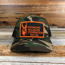 Load image into Gallery viewer, Wyoming Wildlife Federation Trucker Patch Hat- Camo