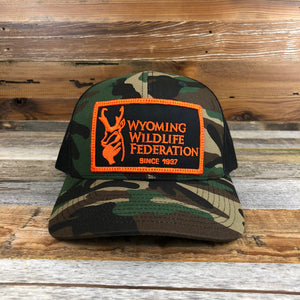 Camo Trucker Hat with Patch | Wyoming Wildlife Federation