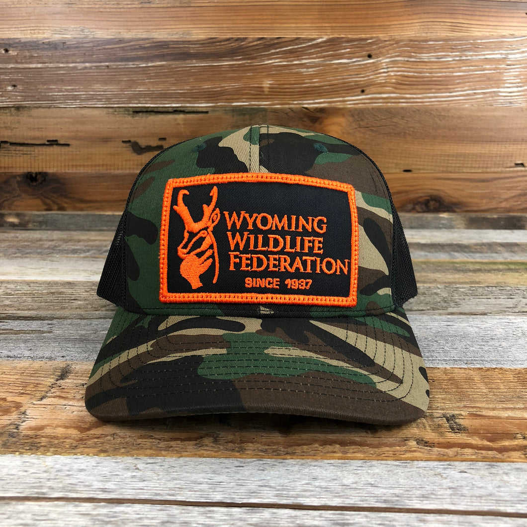 Wyoming Wildlife Federation Patch Trucker Hat- Camo