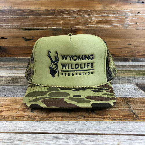 Wyoming Wildlife Federation Trucker Hat- Camo