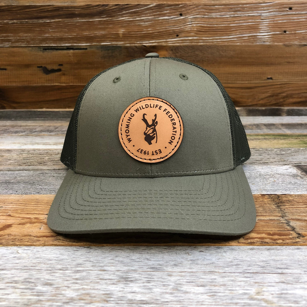Wyoming Wildlife Federation Leather Patch Hat- Loden
