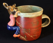 Load image into Gallery viewer, Cow Moose Stoneware Mug by Jenny Reeves-Johnson
