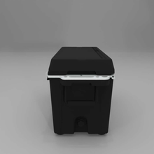 Load image into Gallery viewer, Right side Cat Black 88 Quart Cooler with drain plug