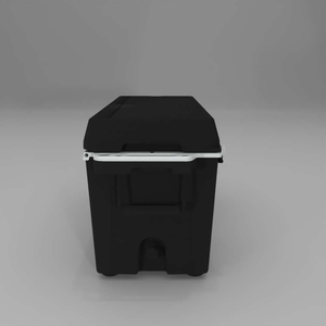 left side Cat Black 88 Quart Cooler with drain plug