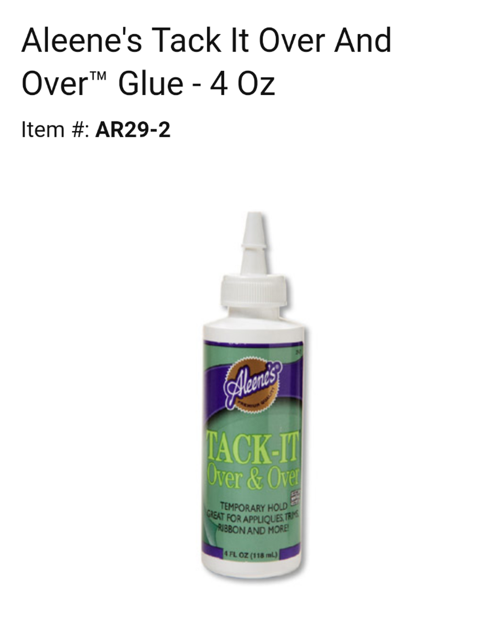 Aleene's Tack It Over and Over Glue 4 Oz