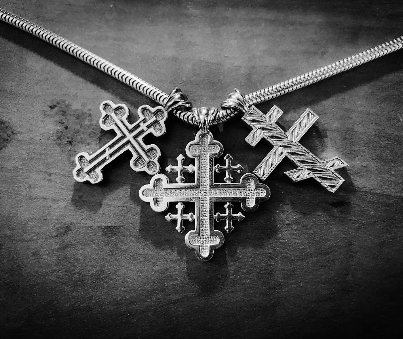 Part of our cross collection. The signature Three-budded Three Bar cross. The Jerusalem Cross. Three Bar Threefold core cross. Come and See!