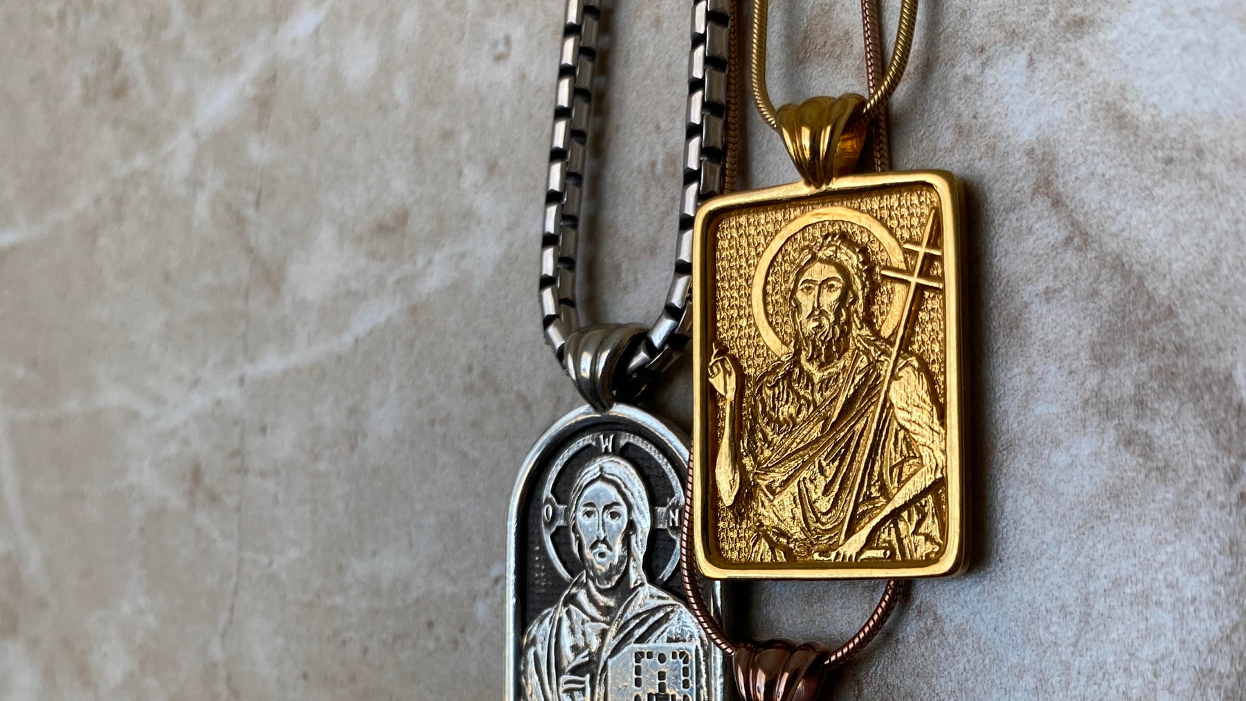 Sterling Silver Pantocrator Iconostasis Icon pendant with recessed oxidation. Yellow gold window Icon pendant of Saint John the Baptist.