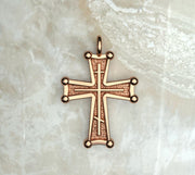 Saints of Christ Jewelry's Sinai Cross with a three bar inlay. In rose gold or rose gold plated.