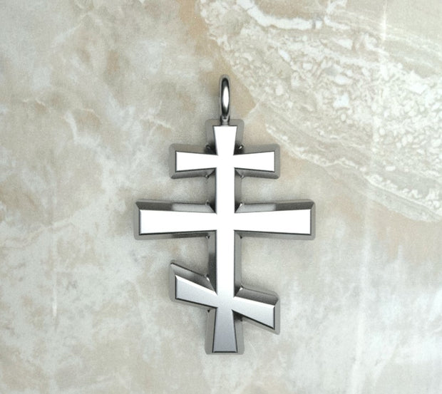 Sterling silver or white gold round beveled three bar orthodox cross.