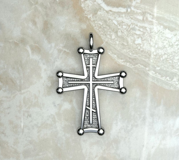 Saints of Christ Jewelry's Sinai Cross with a three bar inlay. In white gold or silver.