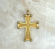 Saints of Christ Jewelry's Sinai Cross with a three bar inlay. In yellow gold or yellow gold plated.