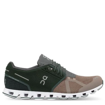 Men's On Running Cloud 50/50 Running Shoe, green and tan, side view