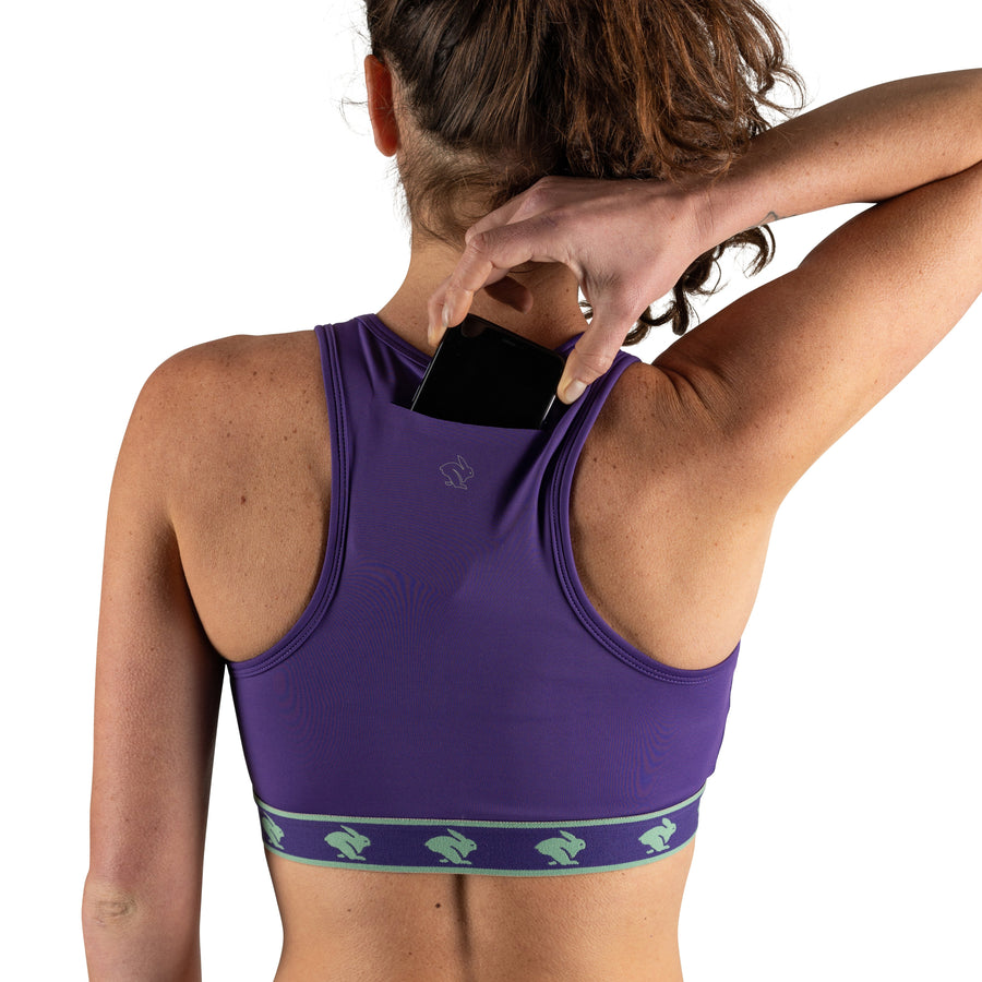 Women's rabbit UtiliBRA-vo Sports Bra, Purple and mint green, back view, phone pocket