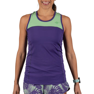 Women's rabbit Flash Tank, purple and mint, front view