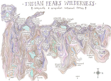 Gemini Illustrations Bad Map of Indian Peaks Wildnerness - Print