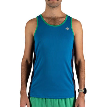 Men's rabbit Hulk Tank, blue with green piping, front view