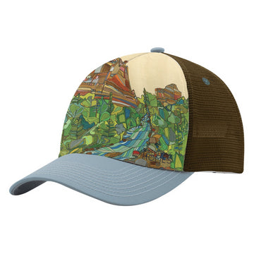 Katherine Homes Eldorado Canyon Foam Sublimation Baseball Hat, grey and brown