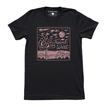 Moore Collection Travel West Tee, black with pink graphic