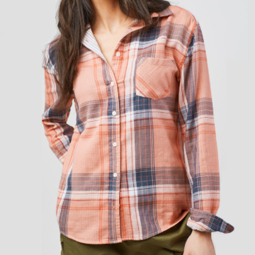 Women's United by Blue North Point Plaid Long Sleeve Button Down - Dusty Rose