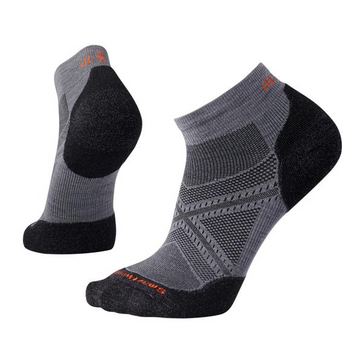 Men's Smartwool PhD® Run Light Elite Low Cut Sock - Black + Grey