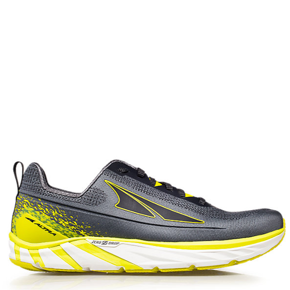 Men's Altra Torin 4 Plush Running Shoe, grey with yellow, side view