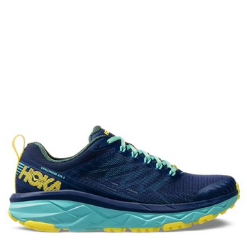 Women's Hoka Challenger ATR 5 Running Shoe, blue, side view