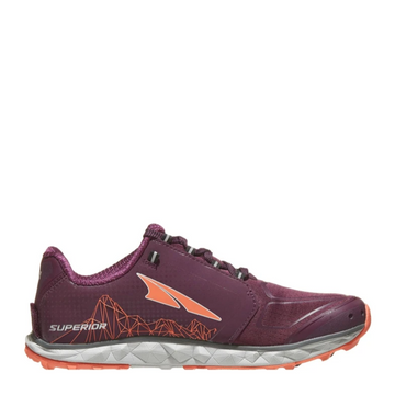 Women's Altra Superior 4 Running Shoe, plum color, side view