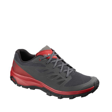 Men's Salomon OUTline Waterproof Hiking Shoe, grey and red, side view