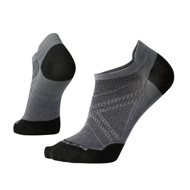 Men's Smartwool PhD® Run Ultra Light Micro Sock - Black + Grey