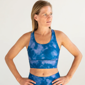 Women's Colorado Threads Indigo Fog Longline Sports Bra in Blue Fog