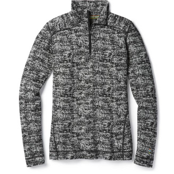 Women's Smartwool Merino 250 Base Layer Pattern 1/4 Zip Long Sleeve - Black + Grey