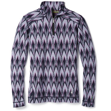 Women's Smartwool Merino 250 Base Layer Pattern 1/4 Zip Long Sleeve - Purple