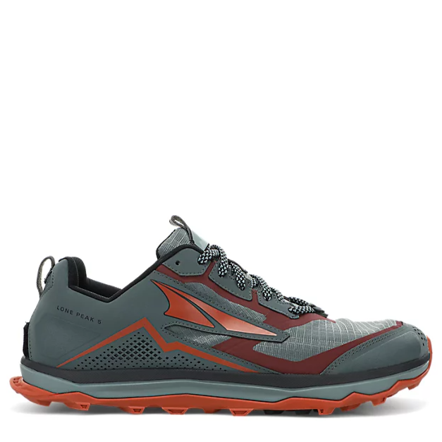 Men's Altra Lone Peak 5 Trail Running Shoe in Grey and Orange