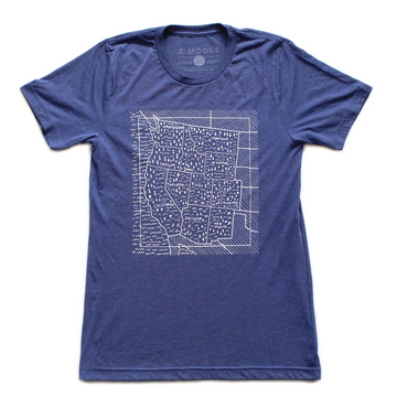 Moore Collection Travel West Map Tee, Blue