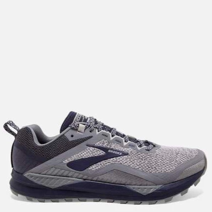 Men's Brooks Cascadia 14 Trail Running Shoe, grey and navy blue, side view