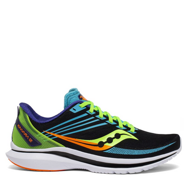 Men's Saucony Kinvara 12 Running Shoe in Black and Multicolor