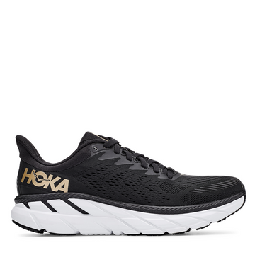 Women's Hoka Clifton 7 Running Shoe in Black and Bronze