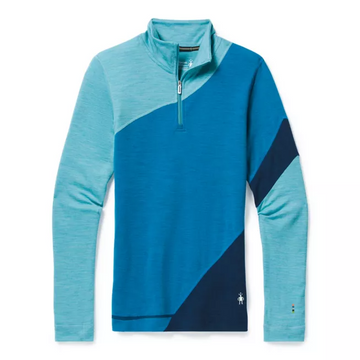 Women's Smartwool Merino 250 Base Layer Colorblock 1/4 Zip in Blue