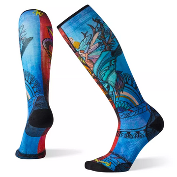 Women's Smartwool PhD® Ski Ultra Light Print Sock in Red and Blue