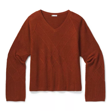 Women's Smartwool Shadow Pine Cable V-Neck Sweater in Ginger
