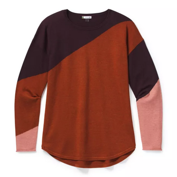 Women's Smartwool Shadow Pine Colorblock Sweater in Ginger