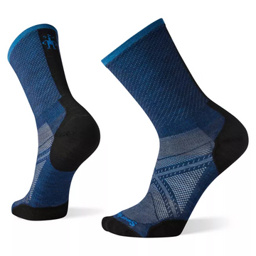 Mens Smartwool PhD Run Ultra Light Pattern Crew Sock in Alpine Blue